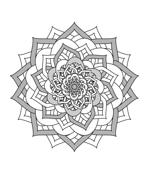 Mandala black and white illustration Inkscape